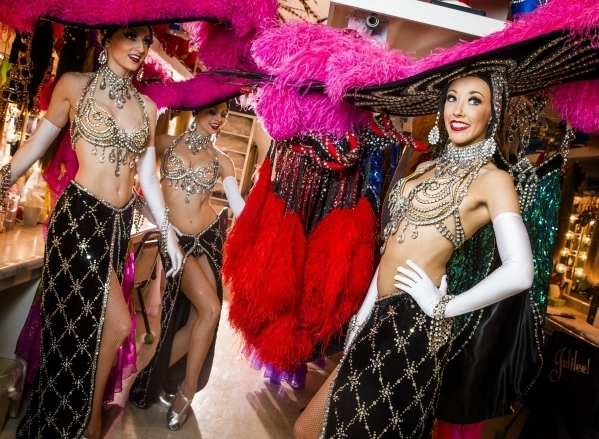 Jubilee feature dancers, Elyse Corbin, left, Katherine Schwing and Kaleigh Jones poise for a photo in the dressing room at Bally's, 3645 South Las Vegas Boulevard, on Thursday, Feb. 4, 2016. (Je ...