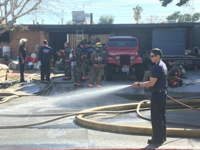 A person was found dead in a burning home at 4395 Lana Drive on Wednesday, Feb. 24, 2016, according to the Clark County Fire Department. (Bizuayehu Tesfaye/Las Vegas Review-Journal Follow @bizutes ...