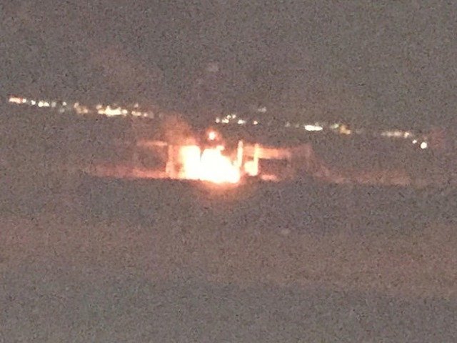 This cellphone image shows a fire at a Laughlin power plant, which was triggered after an explosion about 7:30 p.m. Many homes and businesses are without power. (Jerry Van Haur photo)