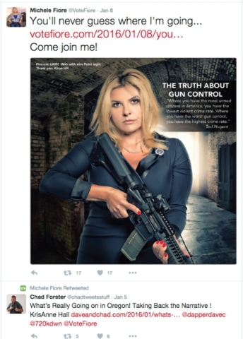 The Twitter page of Assemblywoman Michele Fiore (R-Las Vegas) is shown Jan. 8, 2016.