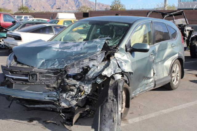 Nevada Highway Patrol investigates a fatal crash Monday afternoon, Feb. 22, 2015, on Blue Diamond 3 miles east of Mountain Springs involving three motorcycles and two sport utility vehicles. (Cour ...