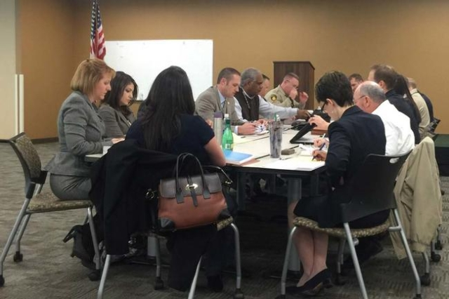 Representatives from the Metropolitan Police Department and the Las Vegas Police Managers and Supervisors Association meet to negotiate a new contract Tuesday morning. It was the first time the me ...