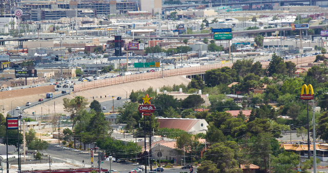 Interstate 15 is seen below from the World Market Center in Las Vegas on Wednesday, June 10, 2015. The area will be part of Project Neon, the freeway-widening and improvement project for I-15 from ...