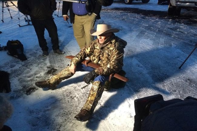 LaVoy Finicum sits on the ground in protest at the Malheur Wildlife Refuge in Burns, Oregon. He was killed in the Bundy traffic stop according to a law enforcement official. The official said when ...