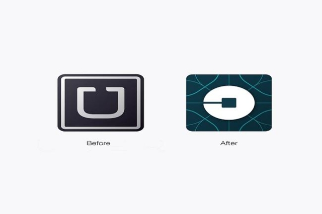 "Instead of the stylized white and black ""U,"" the new design from Uber features an image that the company calls the ""atom and bit.""  (Uber/CNN)"