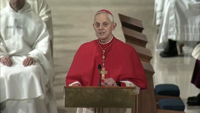 Archbishop Donald Cardinal Wuerl speaks during the funeral Mass for late Supreme Court Justice Antonin Scalia at the National Shrine of the Immaculate Conception in Washington on February 20, 2016 ...