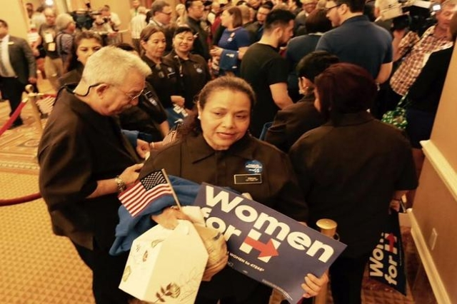 A Hillary Clinton supporter waits in line to caucus at Caesars Palace. (Jeff Scheid/Las Vegas Review-Journal)