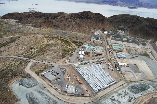 Aerial view of the Southern Nevada Water Authority worksite where a third intake straw was drilled into Lake Mead. (Southern Nevada Water Authority)
