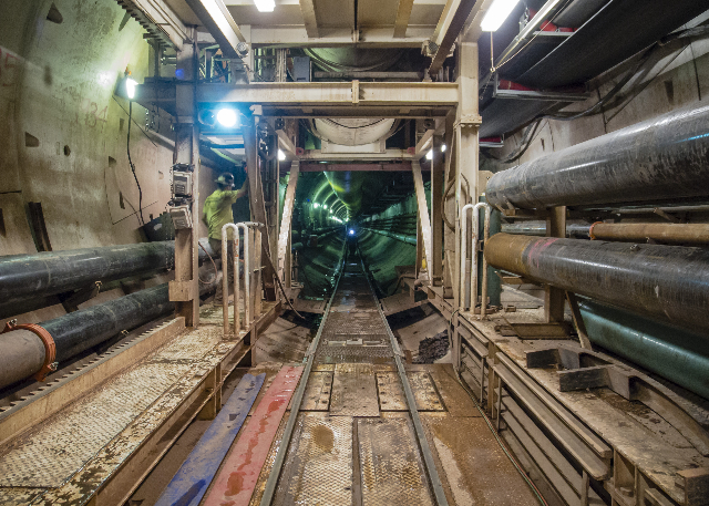 View from the rear of the tunnel bore machine, looking back down three miles of tunnel already constructed at the third intake tunneling project at Lake Mead Tuesday Sept. 16, 2014. (Mark Damon/La ...