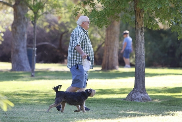 A man takes advantage of cool outdoor temperatures to take his dog for a walk at Sunset Park near McCarran International Airport on Tuesday, July 21, 2015. The National Weather Service predicts a  ...
