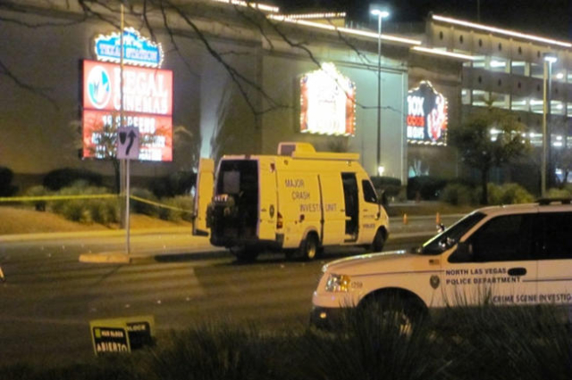 Emergency vehicles remain at the scene of an auto-pedestrian accident on Lake Mead Boulevard just east of Rancho Drive on Monday, Feb. 15, 2016. North Las Vegas police said a man was critically in ...