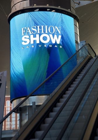 """One of the massive screens recently added to the pillars underneath the """"Cloud,"""" a steel canopy at the Fashion Show Mall on the Las Vegas Strip on Thursday, Feb. 25, 2016. The si ..."""