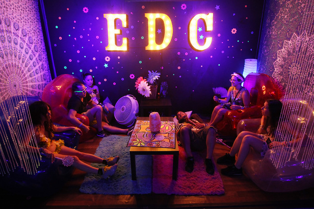 Attendees rest in a lounge during the first night of the Electric Daisy Carnival Saturday, June 20, 2015 at the Las Vegas Motor Speedway. (Sam Morris/Las Vegas Review-Journal) Follow Sam Morris on ...