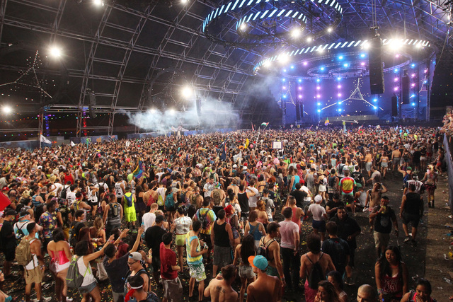 People crowd the Circuit Grounds stage for a set by Arty during the first night of the Electric Daisy Carnival Saturday, June 20, 2015 at the Las Vegas Motor Speedway. (Sam Morris/Las Vegas Review ...