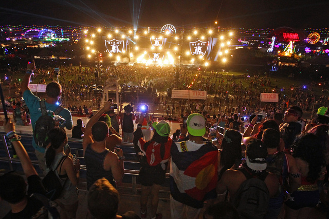 People stop and take photos upon entering the Las Vegas Motor Speedway during the first night of the Electric Daisy Carnival Friday, June 19, 2015. (Sam Morris/Las Vegas Review-Journal) Follow Sam ...