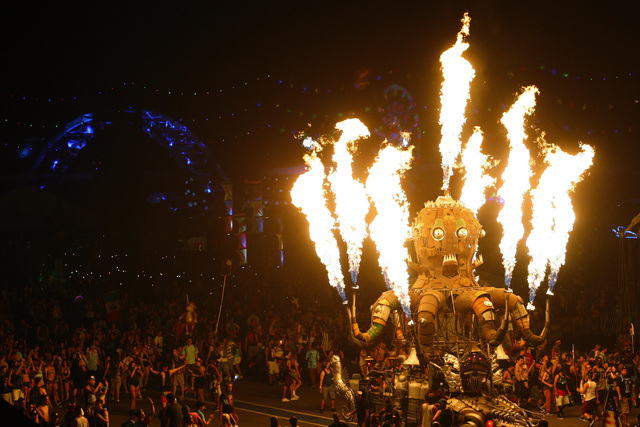 """El Pulpo Mecanico"" makes its way through the crowd during the first night of the Electric Daisy Carnival Friday, June 19, 2015, at the Las Vegas Motor Speedway. (Sam Morris/Las Vegas Re ..."
