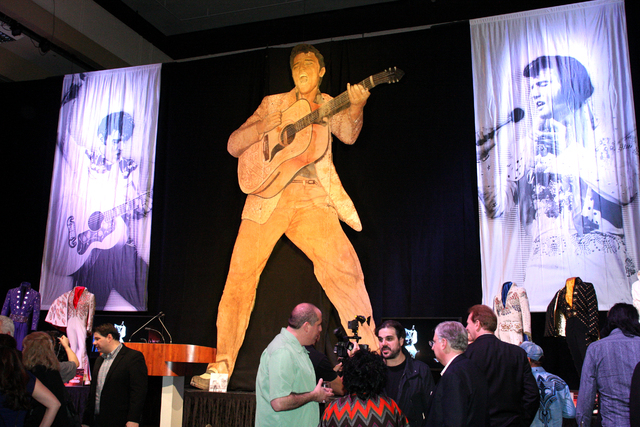 Media gathered at the Westgate hotel-casino for the announcement of a permanent exhibition at the property featuring hundreds of Elvis Presley artifacts never before displayed outside of Graceland ...