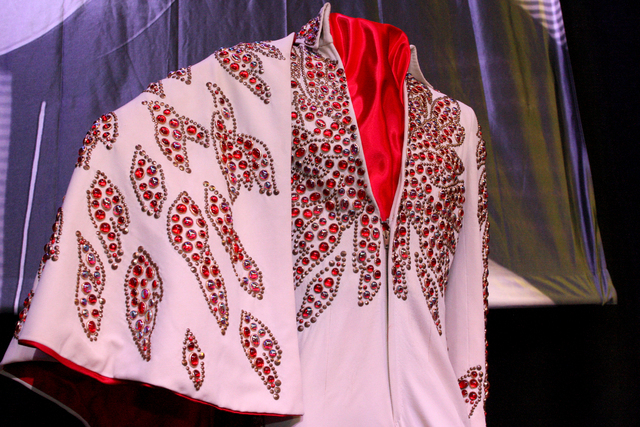 The Red Flower Jumpsuit worn by Elvis during his January/February 1973 Las Vegas engagement was one of many on display to promote a permanent exhibition at the Westgate hotel-casino featuring hund ...