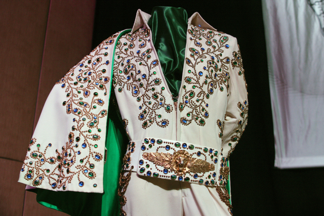 The White Vine Jumpsuit, also known as the White Spanish Flower Jumpsuit, worn by Elvis in 1973 was one of many on display to promote a permanent exhibition at the Westgate hotel-casino featuring  ...