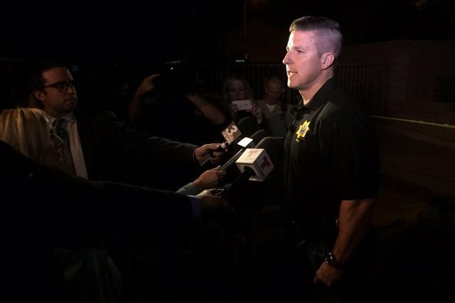 Metro Sgt. Clark addressing the media on the OIS. (Rachel Crosby/Las Vegas Review-Journal)