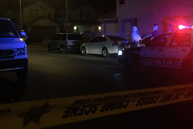 Police have narrowed their taped-off scene to Stivali St. (Rachel Crosby/Las Vegas Review-Journal)