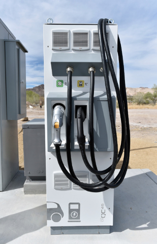 The fast electric power station is seen during the dedication of a the first electric car charging station along U.S. Highway 95 on Tuesday, March 1, 2016, in Beatty. The station is the fist of ma ...