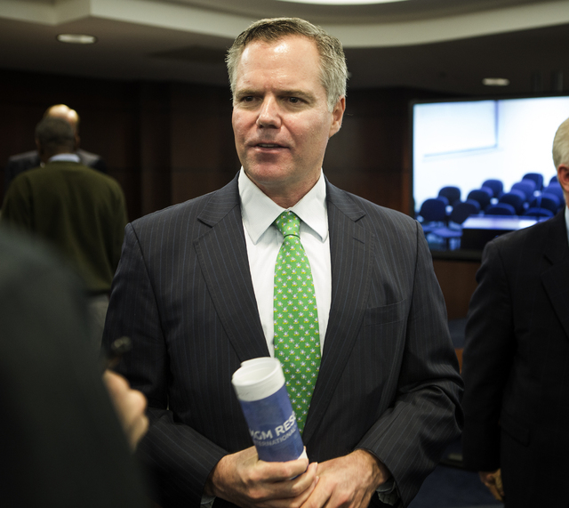 Jim Murren, chairman and CEO of MGM Resorts International, after the company was approved by the Nevada Gaming Commission to form a real estate investment trust, Thursday, March 17, 2016. Jeff Sch ...