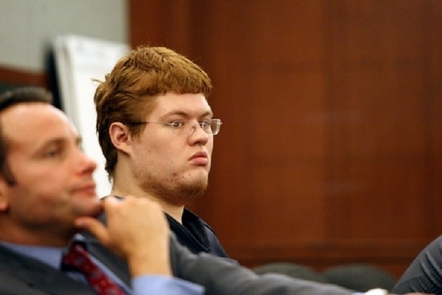 Derrick Andrews, right, who prosecutors say was behind the wheel of a silver 2000 Audi A6 from which Eric Nowsch fired 24 shots, striking and killing Tammy Meyers, appears in court with attorney J ...