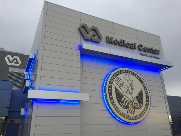 Blue neon lights shine Oct. 5, 2015, on the North Las VA Medical Center. View file photo