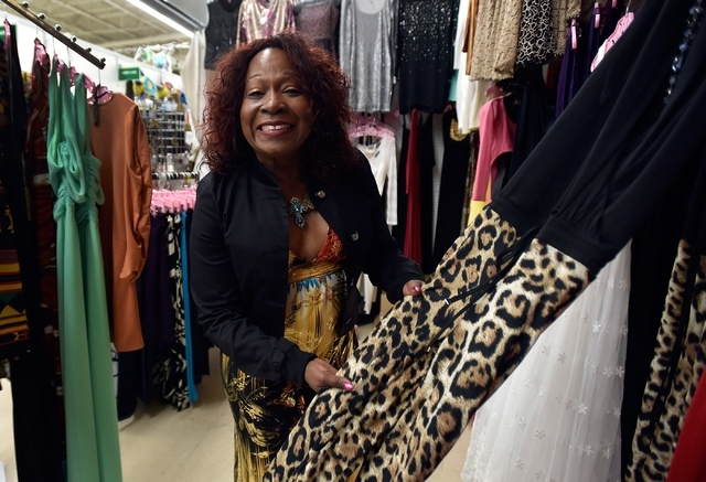 Cheryl Banks displays an animal print outfit in her clothing boutique, CR Fashionz, at the Tropicana Discount Mall Monday, Jan. 11, 2016, in Las Vegas. David Becker/Las Vegas Review-Journal