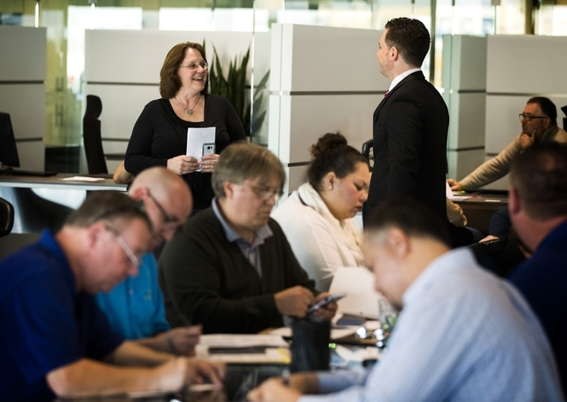 Karen Dablo greets job applicants during the SpeedVegas job fair at Gaudin Porsche of Las Vegas, 6800 Redwood Street, on Tuesday, Jan. 12, 2016. The $30 million, 100-acre new motorsports complex c ...