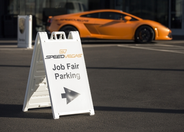 A SpeedVegas job fair sign is posted in Gaudin Porsche of Las Vegas driveway, 6800 Redwood Street, on Tuesday, Jan. 12, 2016. The $30 million, 100-acre new motorsports complex conducted a job fair ...