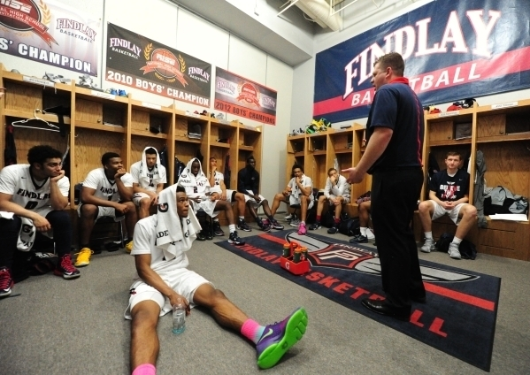 Findlay Prep coach Andy Johnson addresses his team during halftime of their game against Las Vegas High at Henderosn International on Saturday, Feb. 6, 2016. Josh Holmberg/Las Vegas Review-Journal