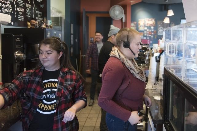 From left, Destiny Gray, Robert Miranda, J.R. Rose and Loree Blackmore prepare orders at Grouchy John's Coffee at 8520 S. Maryland Pkwy. in Las Vegas Friday, Feb. 5, 2016. Jason Ogulnik/Las Vegas  ...