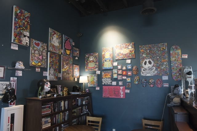 "Art and ""Star Wars"" collectibles hang on the walls and shelves of Grouchy John's Coffee at 8520 S. Maryland Pkwy. in Las Vegas Friday, Feb. 5, 2016. Jason Ogulnik/Las Vegas Review-Journal"