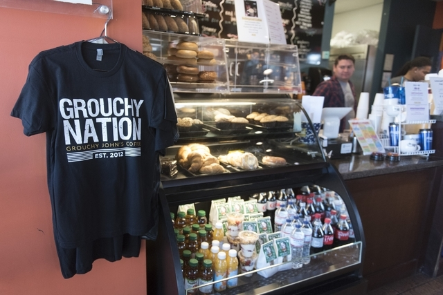 A Grouchy John's Coffee T-shirt hangs near the counter of the business at 8520 S. Maryland Pkwy. in Las Vegas Friday, Feb. 5, 2016. Jason Ogulnik/Las Vegas Review-Journal