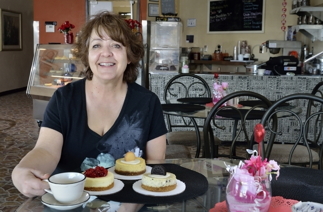 Kathy Bastian, owner of Gotta Love Cheesecake, holds a coffee cup at her shop at 5081 N. Rainbow Blvd., Feb. 6. Bill Hughes/Las Vegas Review-Journal