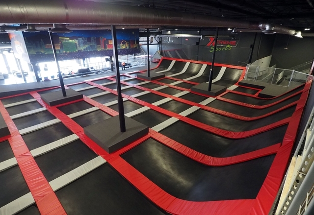 The main trampoline area is seen at Flipnout Xtreme Las Vegas Trampoline Park, 4245 S. Grand Canyon Drive, Suite 111. Jerry Henkel/View