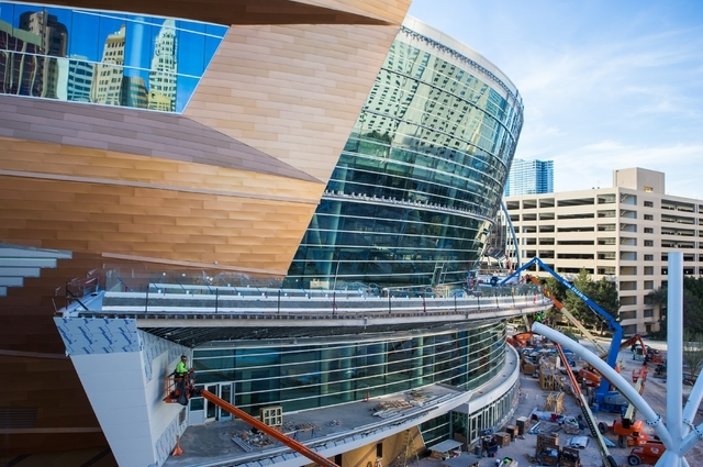 Construction continues at the T-Mobile Arena Feb. 11. Chase Stevens/Las Vegas Review-Journal