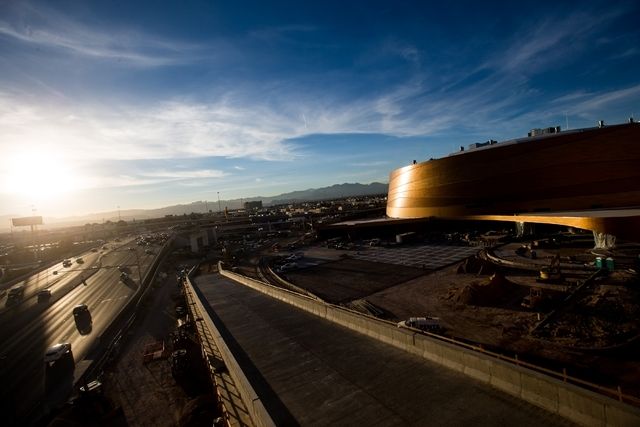 Construction continues at the T-Mobile Arena Feb. 11. It is slated to open in April on 14.5 acres between New York-New York and the Monte Carlo. Chase Stevens/Las Vegas Review-Journal