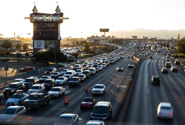 Eastbound traffic, left, approaches the Strip on Tropicana Avenue Feb. 11. Chase Stevens/Las Vegas Review-Journal Follow @csstevensphoto on Twitter