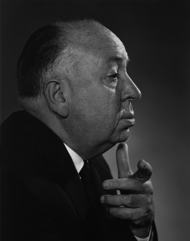 Director Alfred Hitchcock, 1960, as photographed by Yousuf Karsh. (Courtesy/Bellagio Gallery of Fine Art)