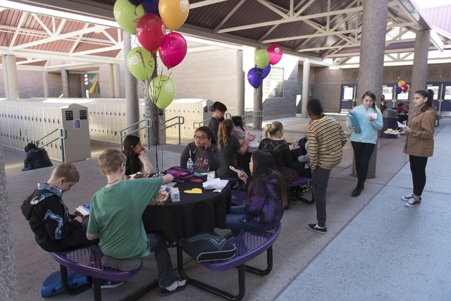 Students chat during lunch break on No One Eats Alone Day Feb. 12 at Becker Middle School. Jason Ogulnik/View