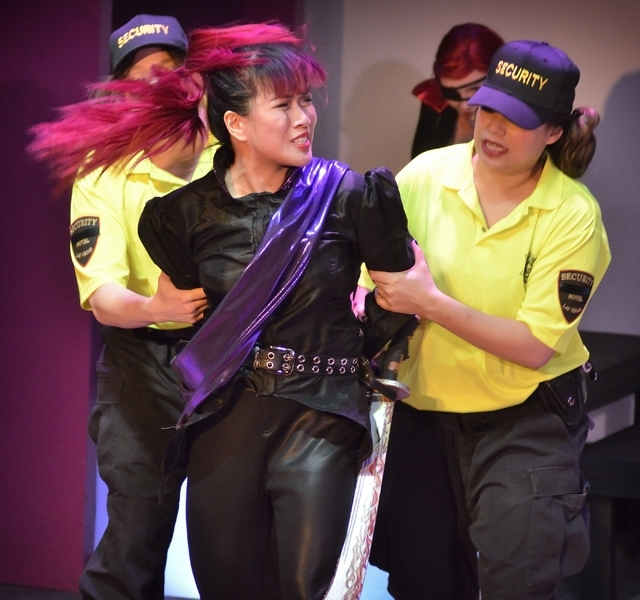 """Jenelle Magbutay, left, and Natalie Senecal perform in """"Geek!"""" at the Onyx Theatre, 953 E. Sahara Ave., Feb. 19. Bill Hughes/Las Vegas Review-Journal"""