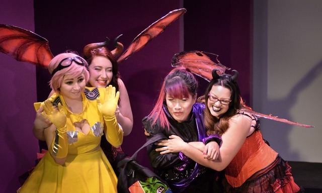 "From left, Amber Austin, April Allain, Jenelle Magbutay and Nancy Gutierrez-Alegria perform in ""Geek!"" at the Onyx Theatre, 953 E. Sahara Ave., Feb. 19. Bill Hughes/Las Vegas Review-Journal"