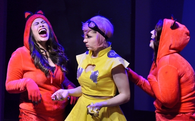 """From left, Natalie Senecal, Amber Austin and April Allain perform in """"Geek!"""" at the Onyx Theatre, 953 E. Sahara Ave., Feb. 19. Bill Hughes/Las Vegas Review-Journal"""