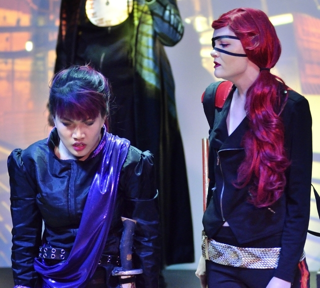 """From left, Jenelle Magbutay and Sam Murphy perform in """"Geek!"""" at the Onyx Theatre, 953 E. Sahara Ave., Feb. 19. Bill Hughes/Las Vegas Review-Journal"""