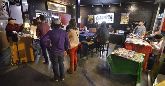 """The lobby is shown before a performance of """"Geek!"""" at the Onyx Theatre, 953 E. Sahara Ave., Feb. 19. A mini-con, which featured comic book artists and vendors selling wares for geeks, was held ..."""