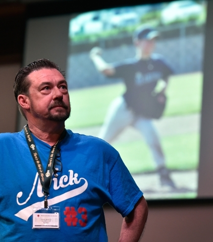 Garret Vandever watches a presentation about his son, Nick Vandever, at There is No Hero in Heroin Foundation's Black Monday event at The Salvation Army Chapel Feb. 15. Nick Vanderver died from a  ...