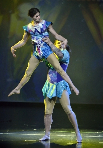 """Kristofer Saly, above, and Stefan Linden perform as the KriStef Brothers in """"Twisted Vegas"""" at the Westgate Las Vegas hotel-casino at 3000 Paradise Road on Thursday, Feb. 18, 2016. B ..."""